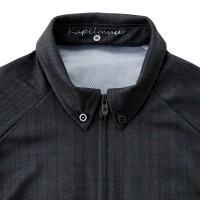 Short Sleeve Button Down Cycling Jersey Herringbone Gray