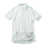 Short Sleeve Button Down Cycling Jersey Herringbone White
