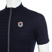 Lynx-Weave Houndstooth Jacquard Half-Sleeve Jersey Navy