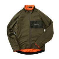 Nylon Stretch Jacket Herringbone Print Khaki