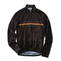 Long-Sleeve Cycling Jersey Belgian Flag Line Black