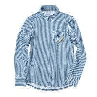 Long-Sleeve Cycling Jersey Shirt Herringbone Stripe Navy