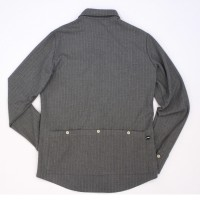 Long-Sleeve Cycling Jersey Shirt Pinstripe Gray