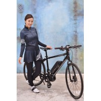 Denim Print Long-Sleeve Women's Cycling Jersey Ivory Line