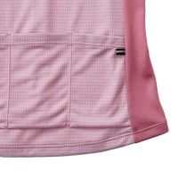 Women's Long-Sleeve Cycling Jersey Argyle Print Pink
