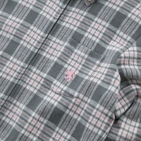 Flannel Style Long Sleeve Jersey Shirt Pink Plaid