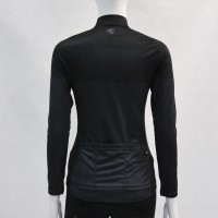 Ladies Long-Sleeve Cycling Jersey Herringbone Print DarkGray