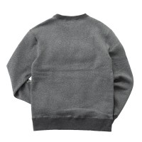 Clue Neck Sweat Shirt Raised-Back Fabric Melange Gray