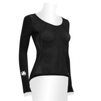 UV Protection Sleeve x Mesh Underwear U neck Women's Black