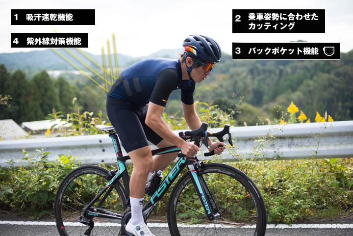 自転車に乗るために作られた専用サイクルジャージの機能
