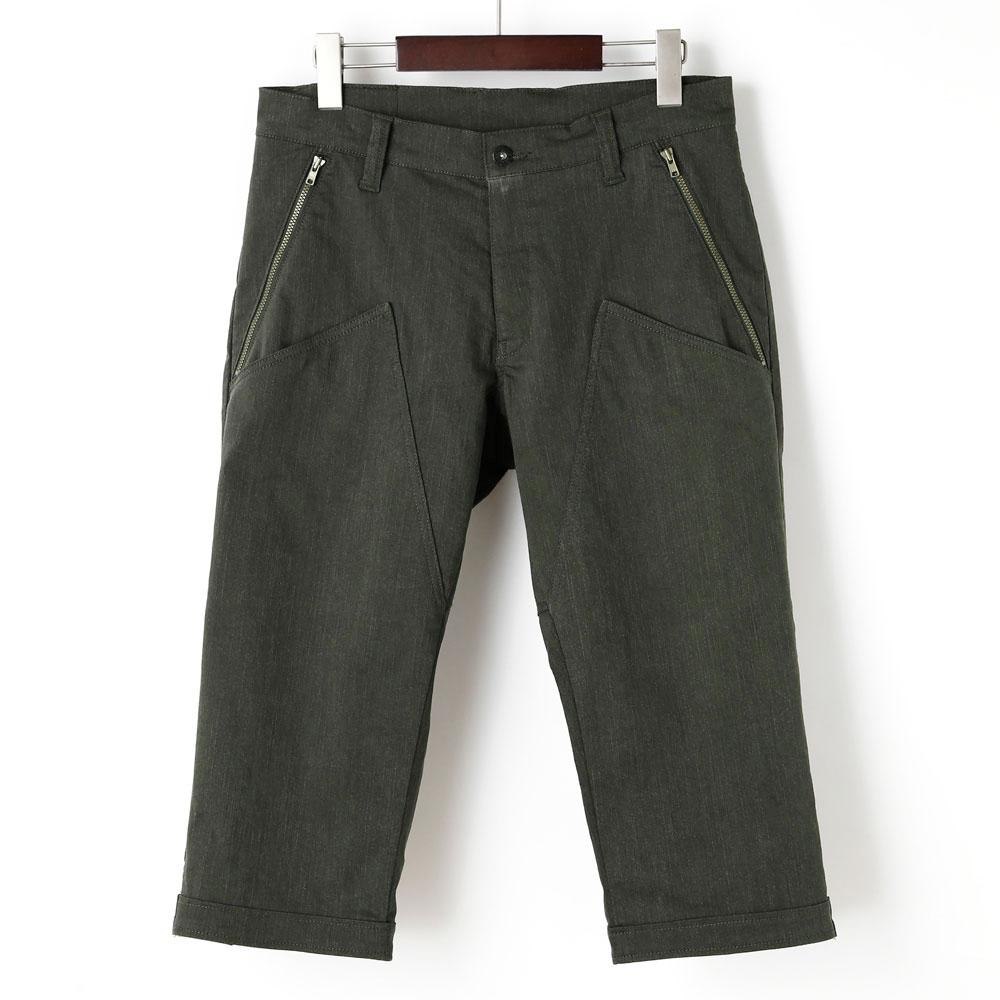 裾ベルト付クロップドパンツ 膝上ポケット オリーブ