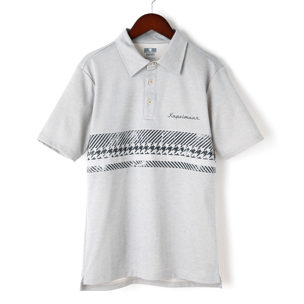 半袖ドライポロシャツ  グランジプリント オートミール