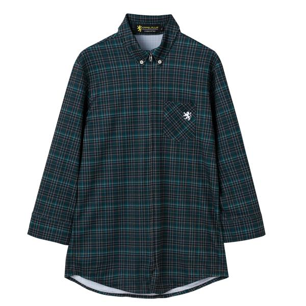 Cropped Shirt Jersey Green Plaid