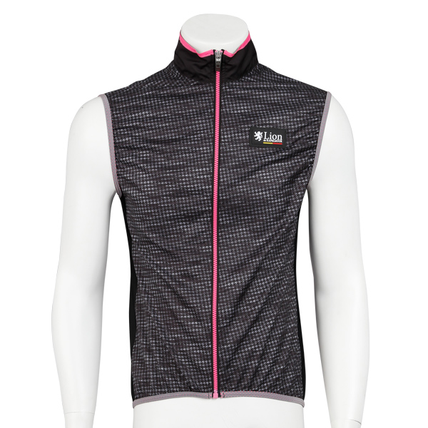 Wind Vest Houndstooth-Friction Black/Pink Line
